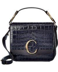 Chloé C Small Croc-embossed Leather Shoulder Bag - Blue