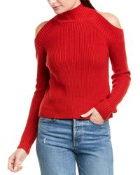 Nicholas Cold-shoulder Ribbed Wool-blend Sweater Red