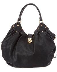 Louis Vuitton Black Mahina Leather Large Hobo