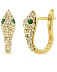 Sabrina Designs 14k 0.60 Ct. Tw. Diamond & Tsavorite Snake Earrings - Metallic