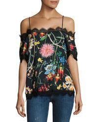 DELFI Collective Lucy Floral Off-the-shoulder Top - Black
