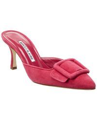 Manolo Blahnik Maysale 70 Suede Sandal - Pink