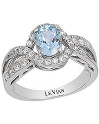 Le Vian 14k White Gold 1.49 Ct. Tw. Diamond & Aquamarine Ring - Metallic