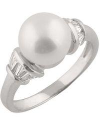 Splendid - Rhodium Over Silver 9-9.5mm Pearl Ring - Lyst
