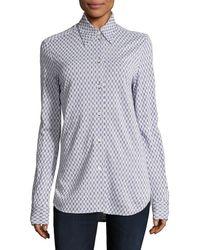 Céline Intarsia Button Up Shirt - Blue