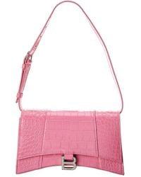 Balenciaga - Hourglass Croc-embossed Leather Shoulder Bag - Lyst