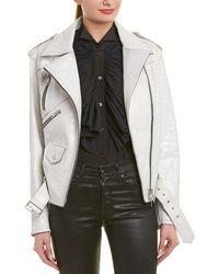 Givenchy Crackled Leather Moto Jacket - White