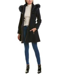 Laundry by Shelli Segal Fit-and-flare Wool-blend Coat - Blue
