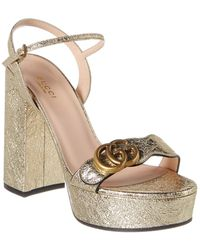 Gucci GG Platform Leather Sandal - Metallic