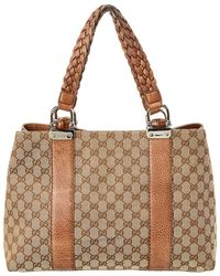 f7aba1b34c8 Gucci - Brown GG Canvas   Leather Bamboo Bar Tote - Lyst