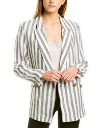 IRO Striped Linen Jacket - White