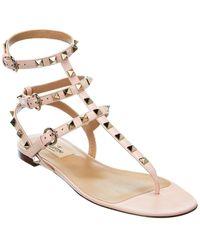 Valentino Valentino Garavani Rockstud Caged Leather Ankle Strap Sandal - Pink