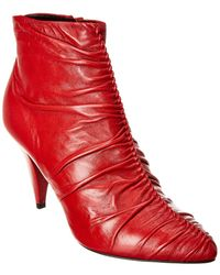 Céline Triangle Ruched Leather Bootie - Red