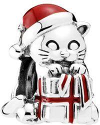 PANDORA Silver & Enamel Christmas Kitten Charm - Multicolor