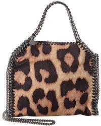 Stella McCartney Falabella Mini Leopard Print Tote - Brown