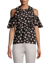 Rebecca Taylor Rosalie Floral Cold-shoulder Top - Black