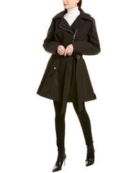 Via Spiga Asymmetrical Medium Trench Coat - Black