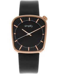 Simplify The 6800 Quartz Black Dial Black Leather Watch - Multicolour