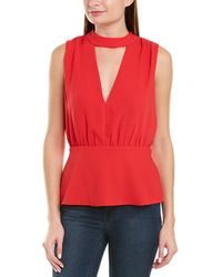 BCBGMAXAZRIA Plunging Blouse - Red