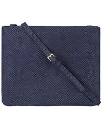 Graphic Image Embossed Leather Crossbody Clutch - Blue