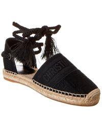 Dior Granville Canvas Ankle Wrap Espadrille - Black