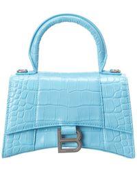 Balenciaga Hourglass Xs Croc-embossed Leather Top Handle Satchel - Blue