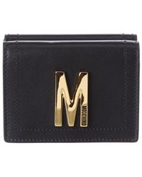 Moschino Logo Leather French Wallet - Black