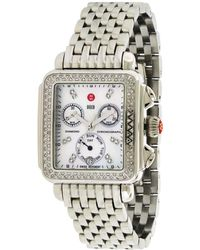 Michele Stainless Steel Diamond Watch - Metallic