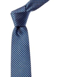 Lanvin Blue Geometric Silk Tie