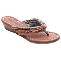 Bernardo - Miami Fringe Leather Wedge Sandal - Lyst