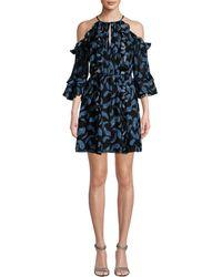 Rachel Zoe Cold-shoulder Ruffle Dress - Blue
