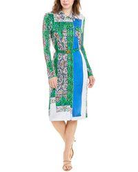 Tory Burch Crista T-print Slinky Jersey Shirtwaist Dress - Blue