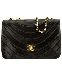 Chanel - Black Lambskin Leather Half Moon Single Flap Bag - Lyst