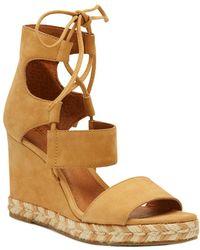 Frye - Roberta Ghillie Leather Wedge Sandal - Lyst
