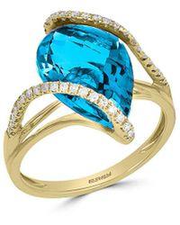Effy 14k 6.28 Ct. Tw. Diamond & Blue Topaz Ring