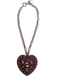 Lanvin - Brown Leather & Crystal Heart Pendant Necklace - Lyst