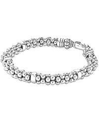 Lagos Signature Caviar Silver Bracelet - Metallic