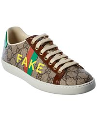 Gucci Fake/not Leather-trim Sneaker - Brown