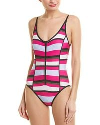 Proenza Schouler Striped Over The Shoulder One-piece W/ Zip Front Detail (electric Pink Multi) Swimsuits One Piece