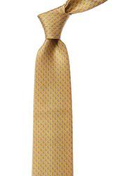 Ferragamo Yellow & Blue Parrot Print Silk Tie