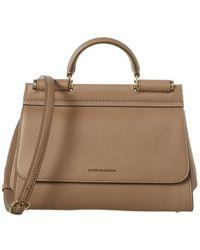 Dolce & Gabbana Sicily Small Leather Shoulder Bag - Brown