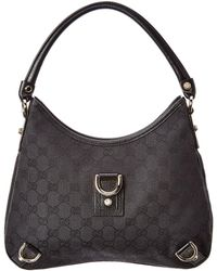 Gucci - Black GG Canvas & Leather Abbey Hobo Bag - Lyst