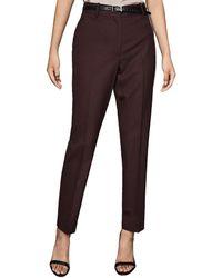 Reiss Romy Textured Wool-blend Pant - Brown