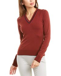Piazza Sempione V-neck Wool-blend Top - Red
