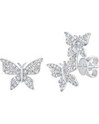 Sabrina Designs 14k 0.35 Ct. Tw. Diamond Butterfly Mismatched Studs - Metallic