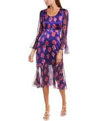 Prabal Gurung Queen Rania Silk Midi Dress - Purple