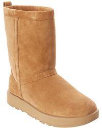 UGG Classic Short Waterproof Suede Boot - Brown