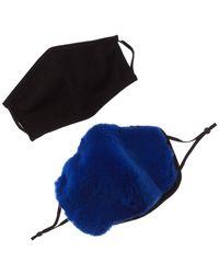 Adrienne Landau 2pc Face Warmer & Cloth Face Mask Set - Blue