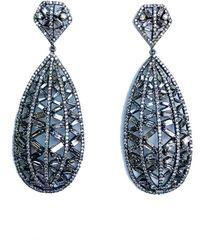 Arthur Marder Fine Jewelry 14k & Silver 10.56 Ct. Tw. Diamond Teardrop Earrings - Blue