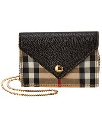 Burberry Jade Vintage Check & Leather Card Case On Chain - Black